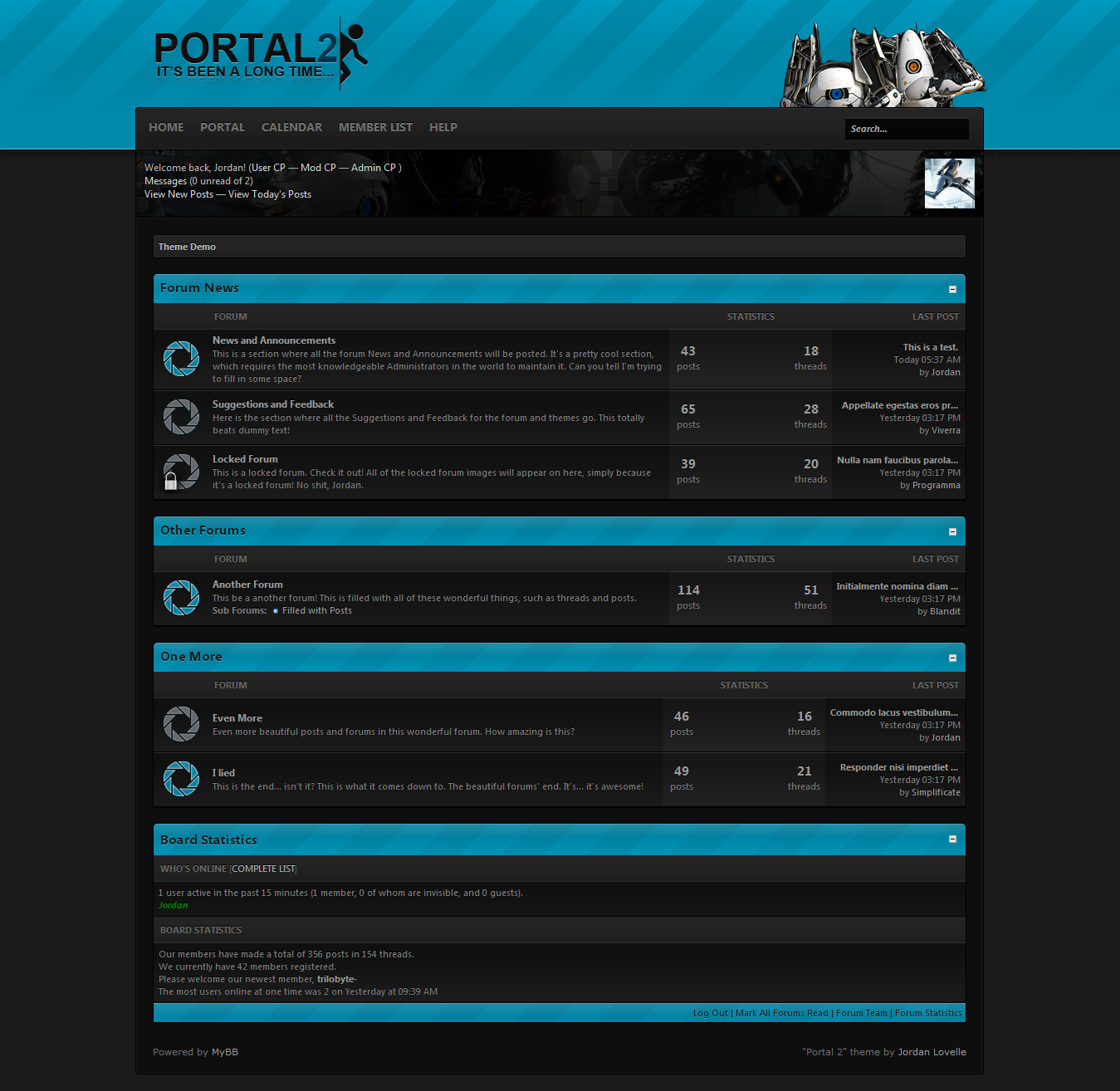 MyBB - Mods - Portal 2 Theme